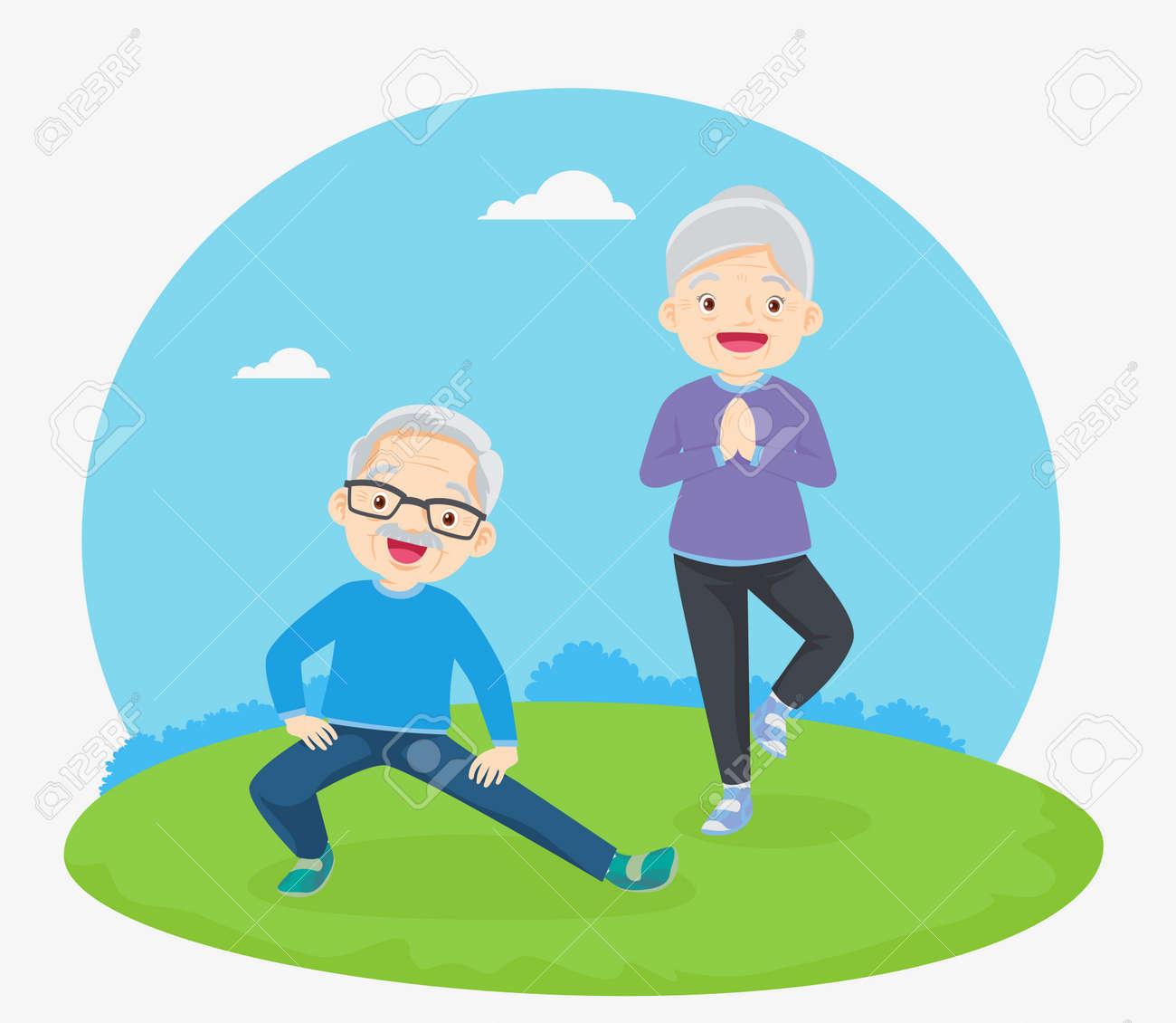 Senior people and gymnastics. Elderly couple. Grandparents doing exercises. yoga, Sport. Morning exercises. - 169091872
