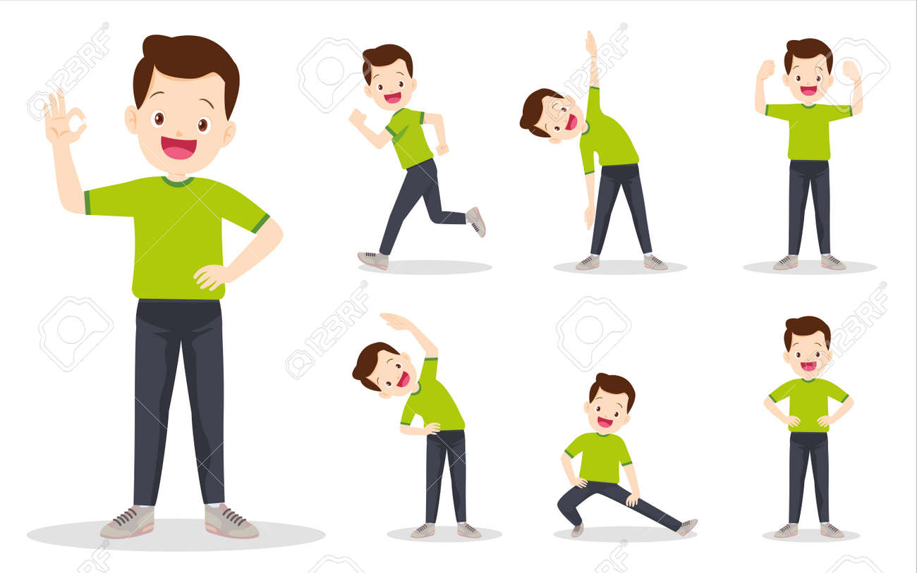 set of man on exercise various actions. father are various actions to move the body healthy - 169091878
