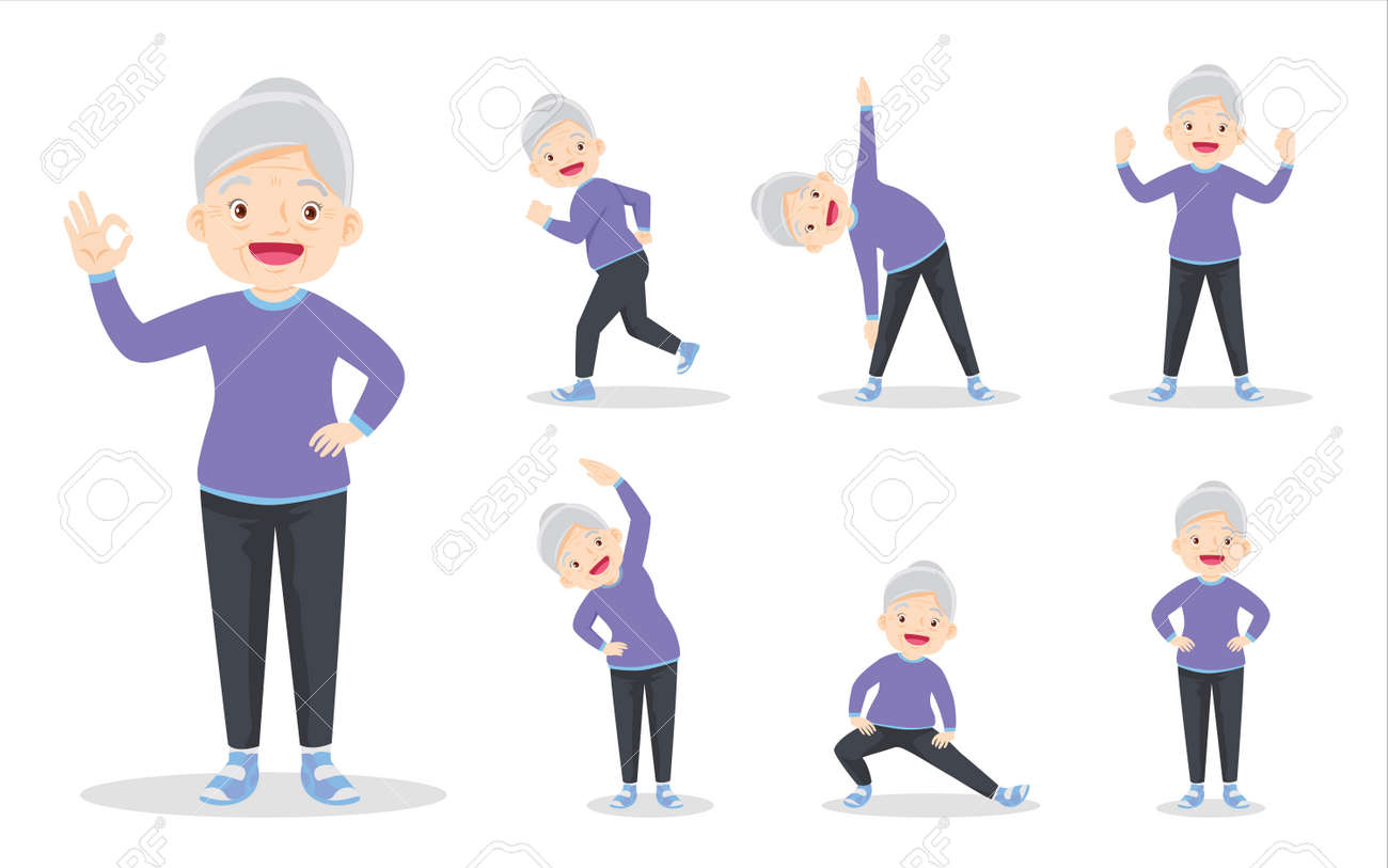 bundle set of elderly woman on exercise various actions. grandmother are various actions to move the body healthy - 169091879