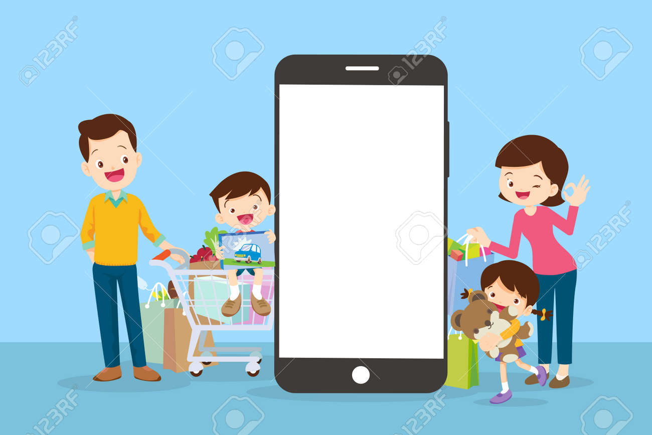 Happy family doing grocery shopping online with a mobile app on their smartphone.shopping cart with products and family is making the payment online. - 169091883