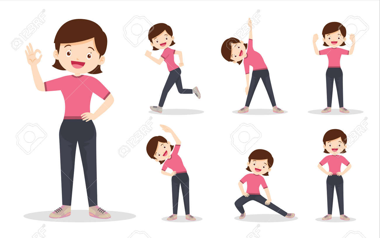 bundle set of woman on exercise various actions. mother are various actions to move the body healthy - 169091884