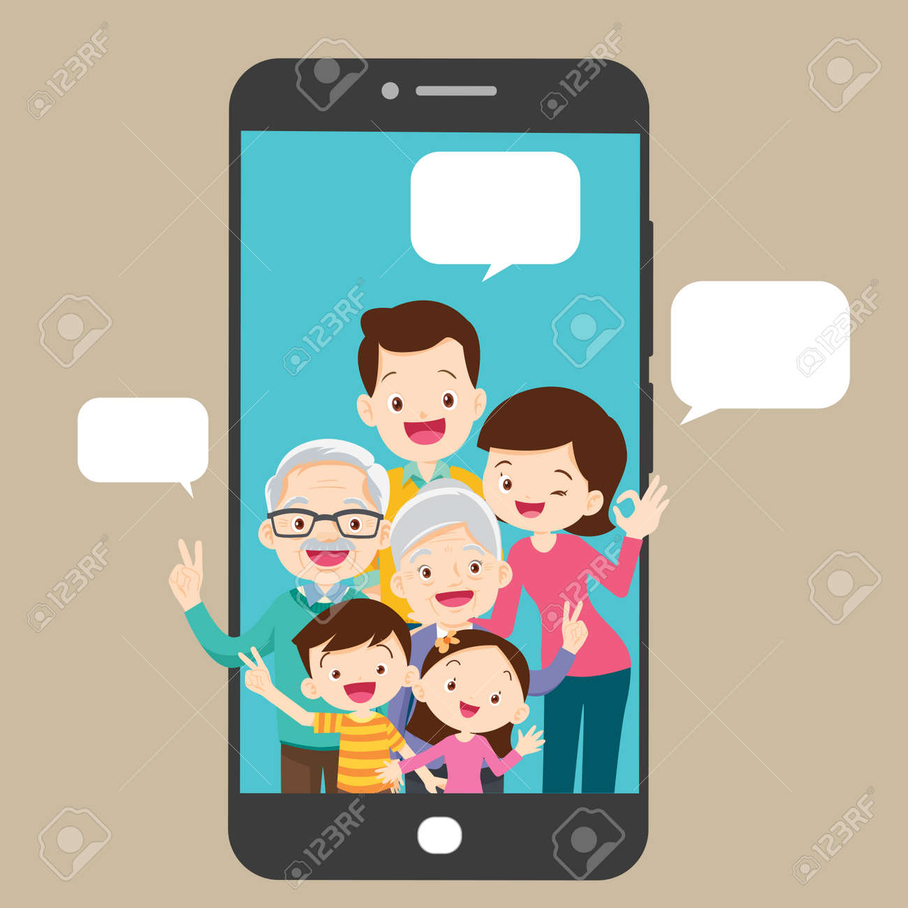 happy family and smartphone communication concept - 169092031