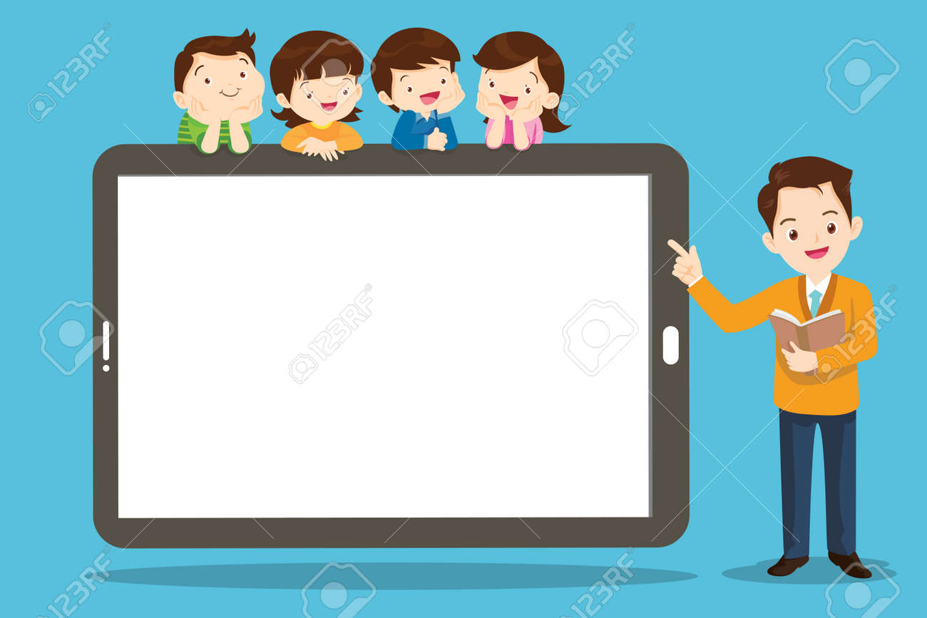 group of kids watching online teacher class on tablet computer. Internet education at home program concept - 169092034