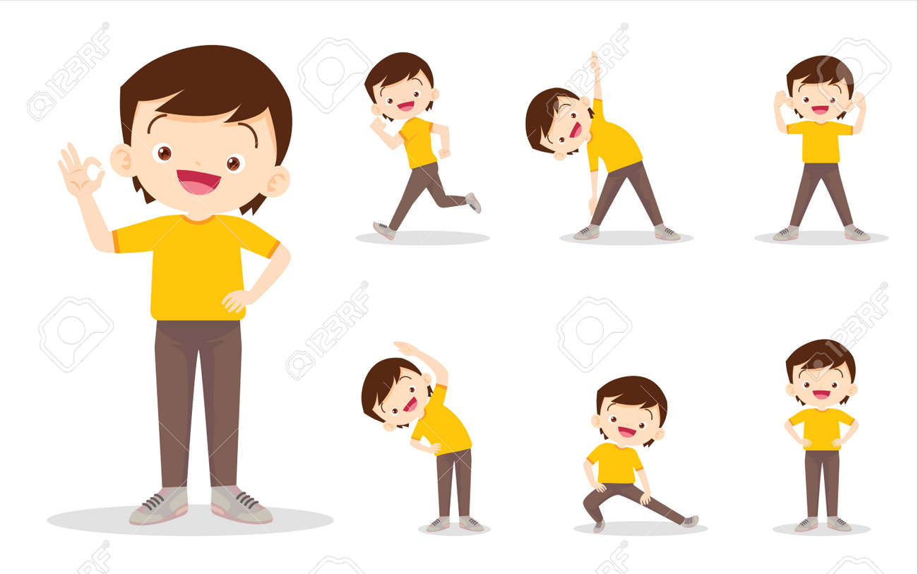bundle set of boy on exercise various actions,There are various actions to move the body healthy - 169092035