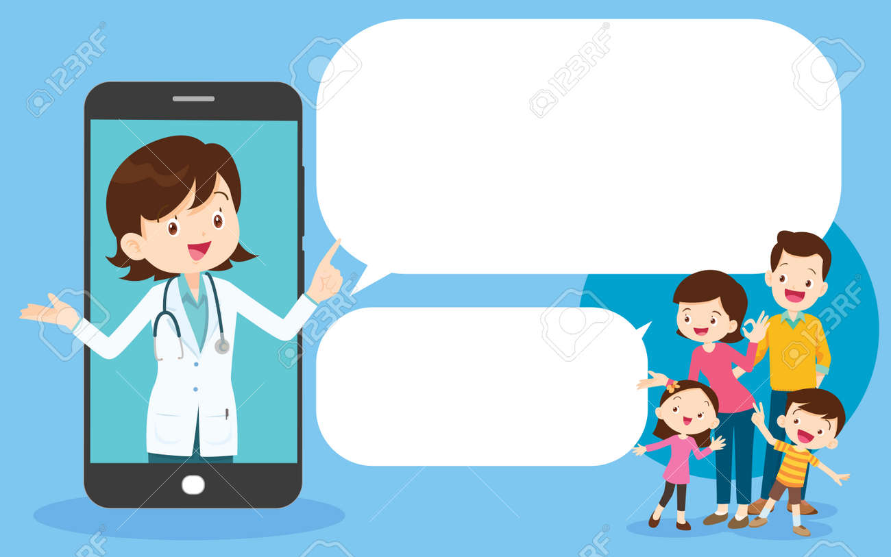 Smart doctor on the phone screen with family,Mobile App Family Doctor. Family Using Mobile Application, Control Health Indicators, Consult Online Doctor, Sign up Appointment Therapist. Healthcare services - 169091791
