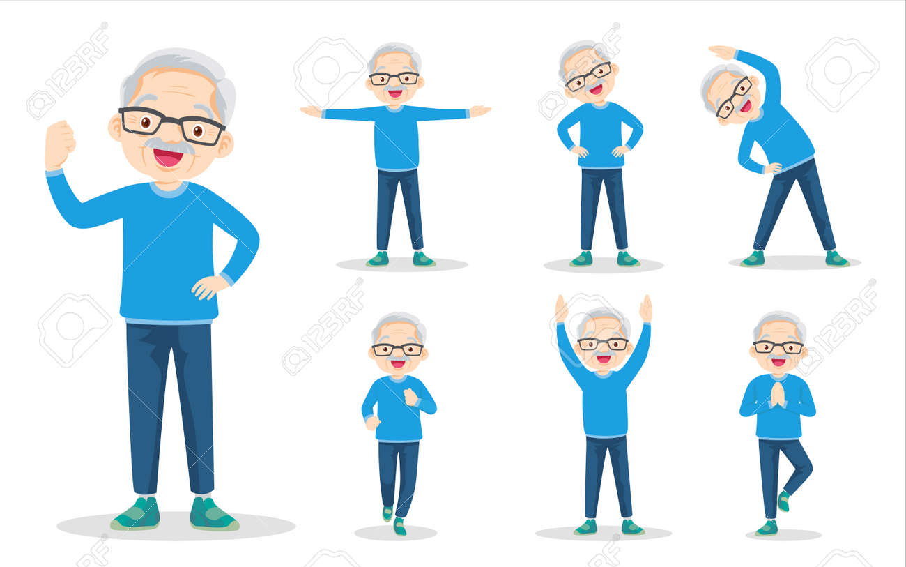 bundle set of elderly man on exercise various actions. grandfather are various actions to move the body healthy - 169091792