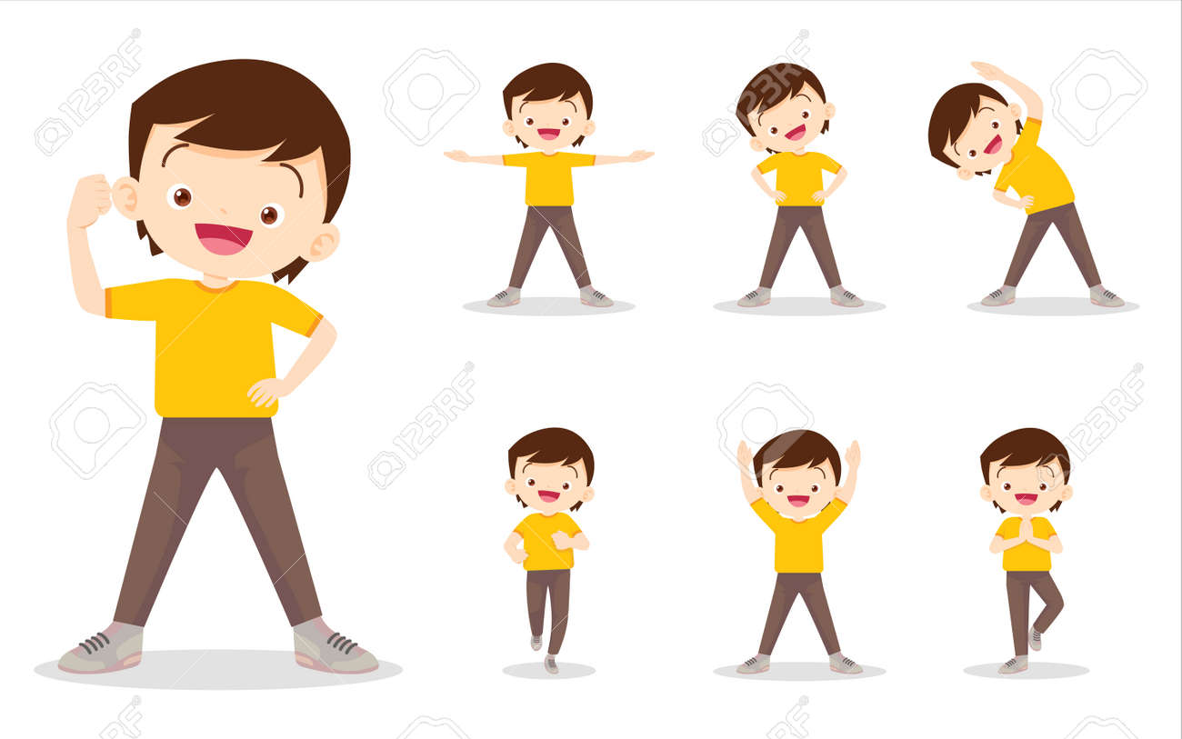 set of boy on exercise various actions,There are various actions to move the body healthy - 169091793