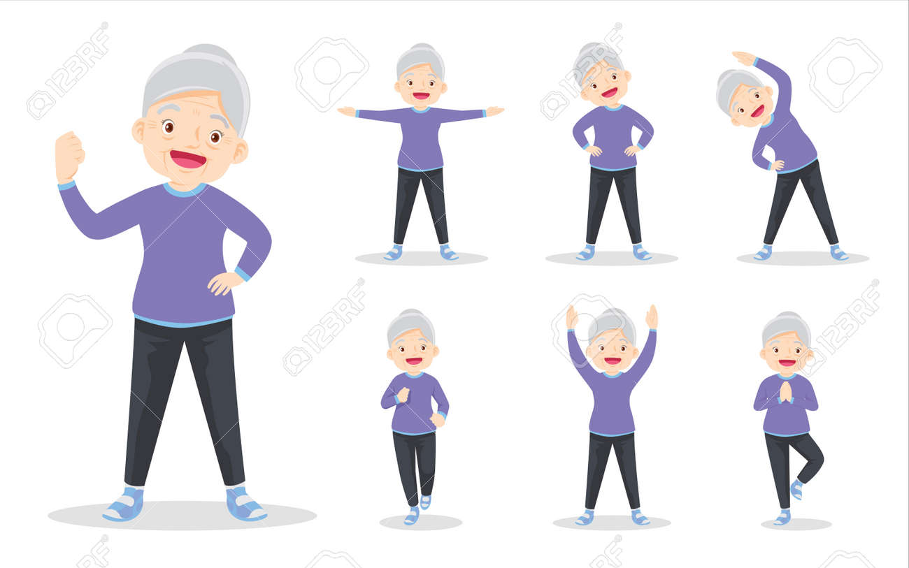 bundle set of elderly woman on exercise various actions. grandmother are various actions to move the body healthy - 169091794