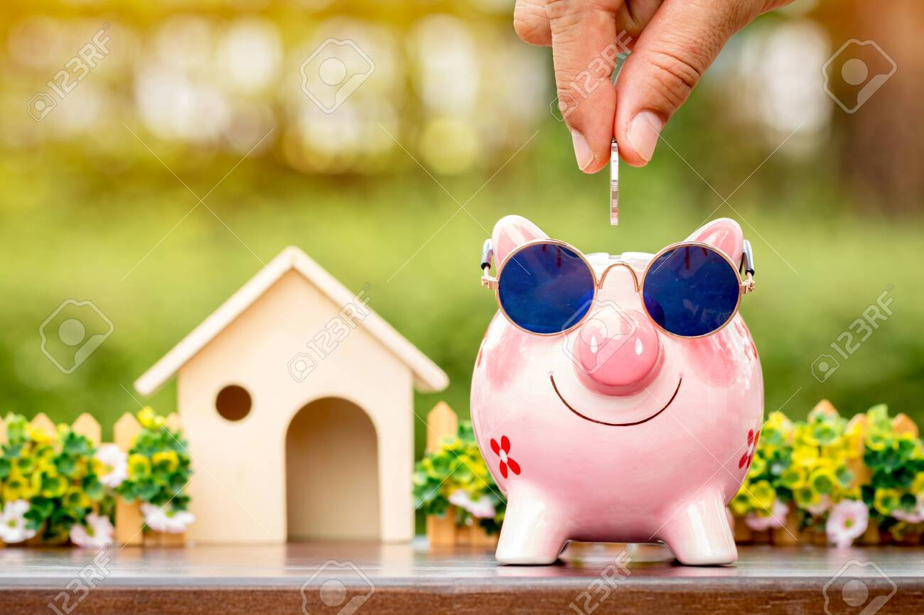 Businessman hand hold a coin is save to the piggy bank with growing a interest and wooden home model for family in the public park, Business investment and loan for real estate in the future concept. - 153493610
