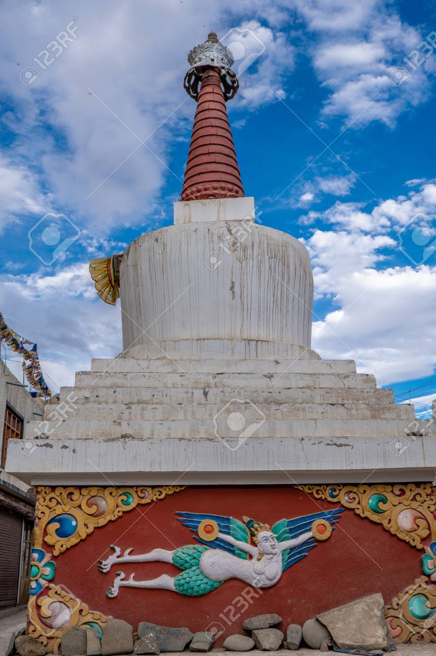 Stupa of Old Barzarr Road in Leh Ladakh, Jammu and Kashmir, India