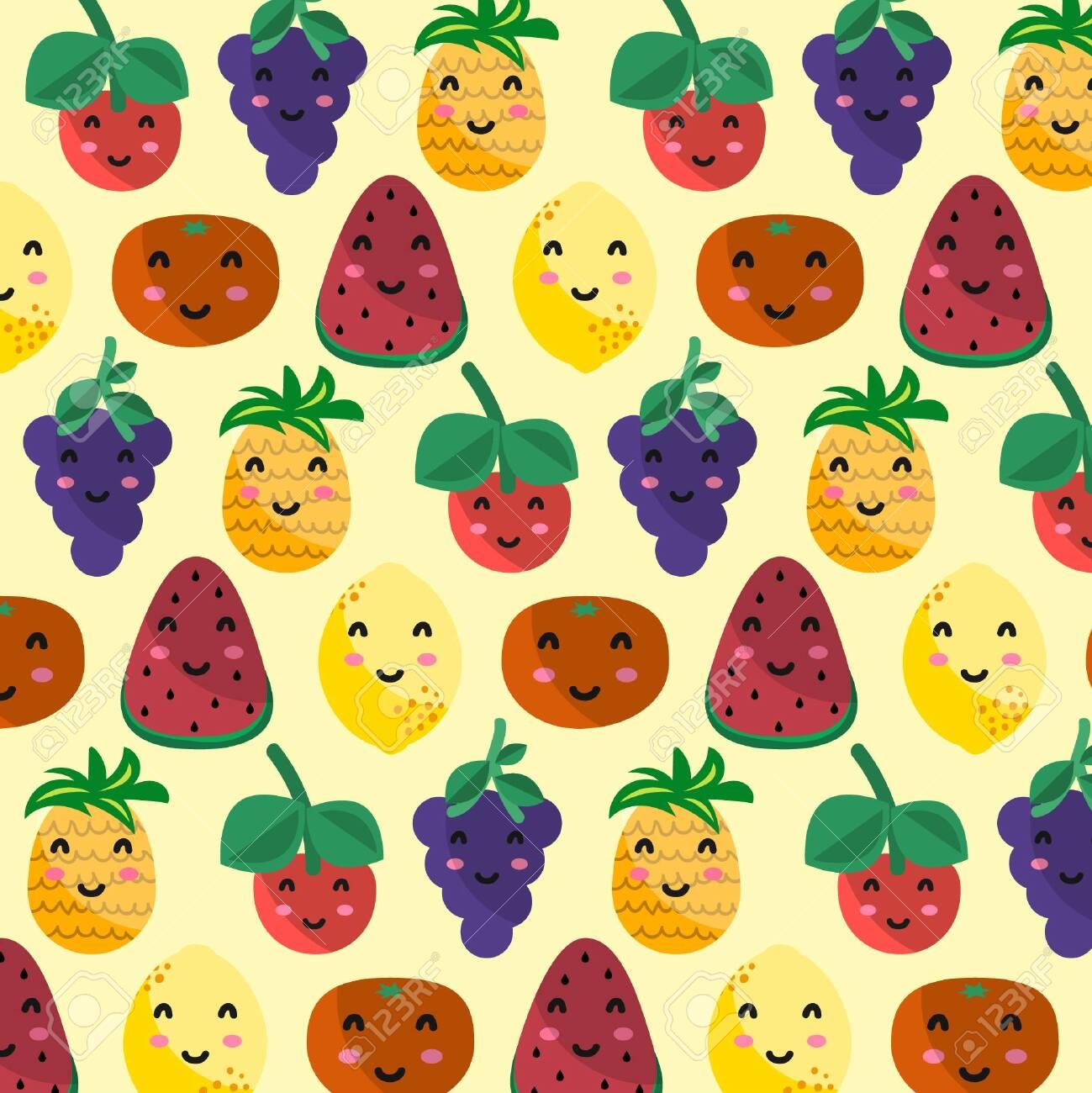 Kawaii fruit pattern - 145102986