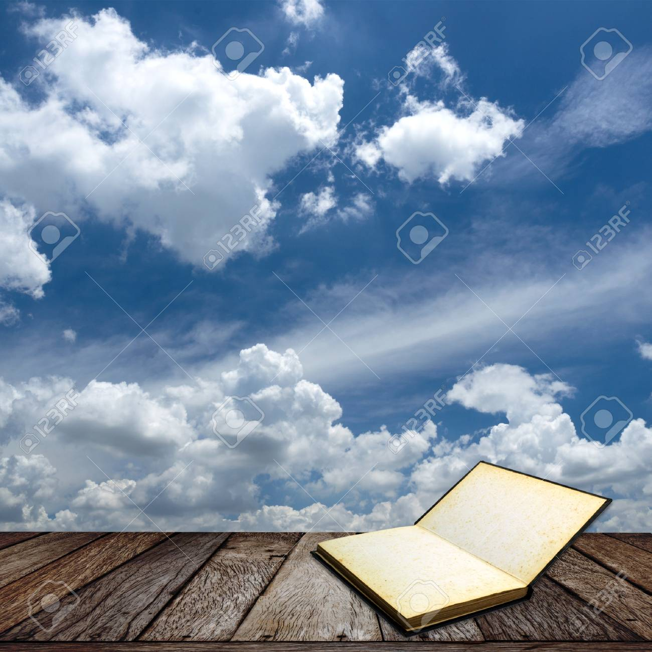 Wooden texture on blue sky background Stock Photo - 15146408