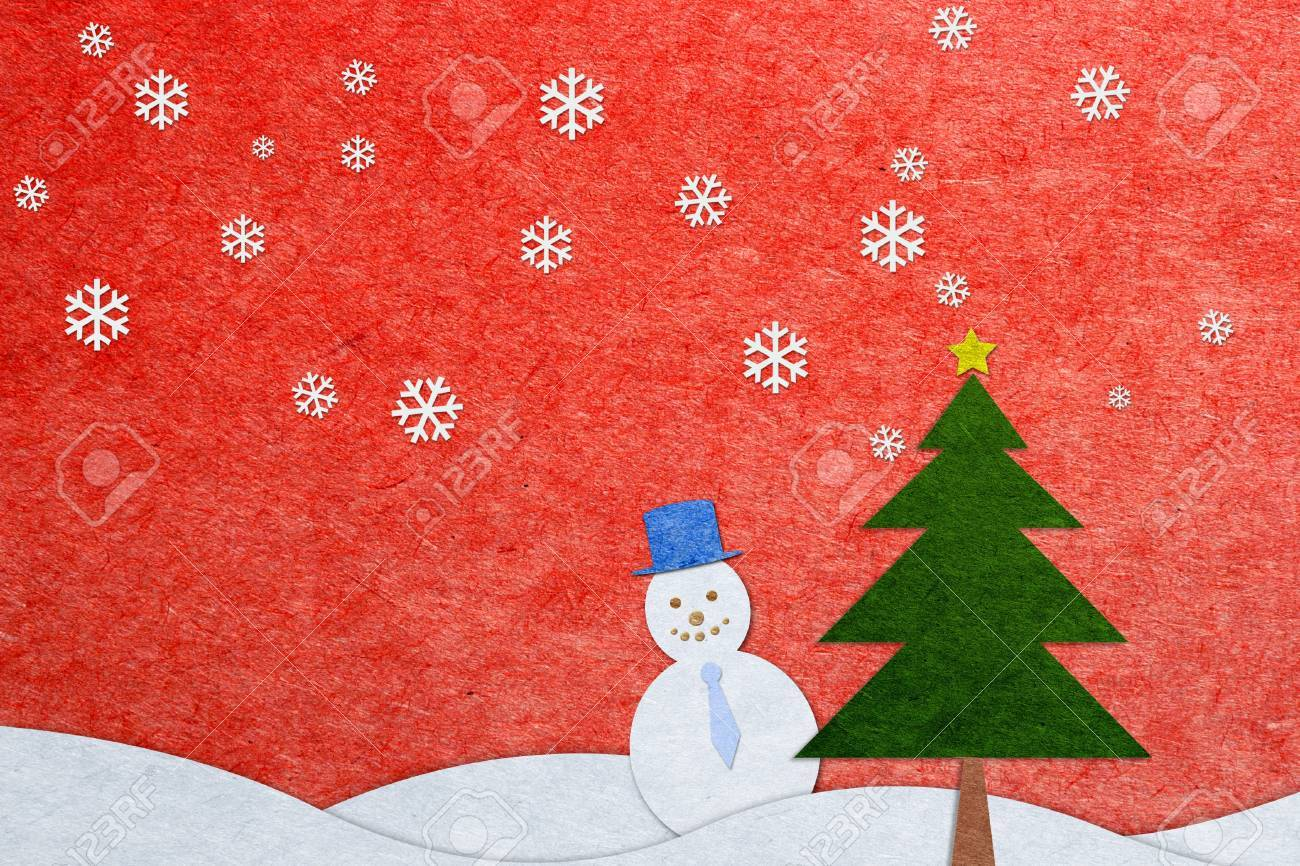 Recycled Paper Craft Christmas Greeting Card Snow On Red Background ...