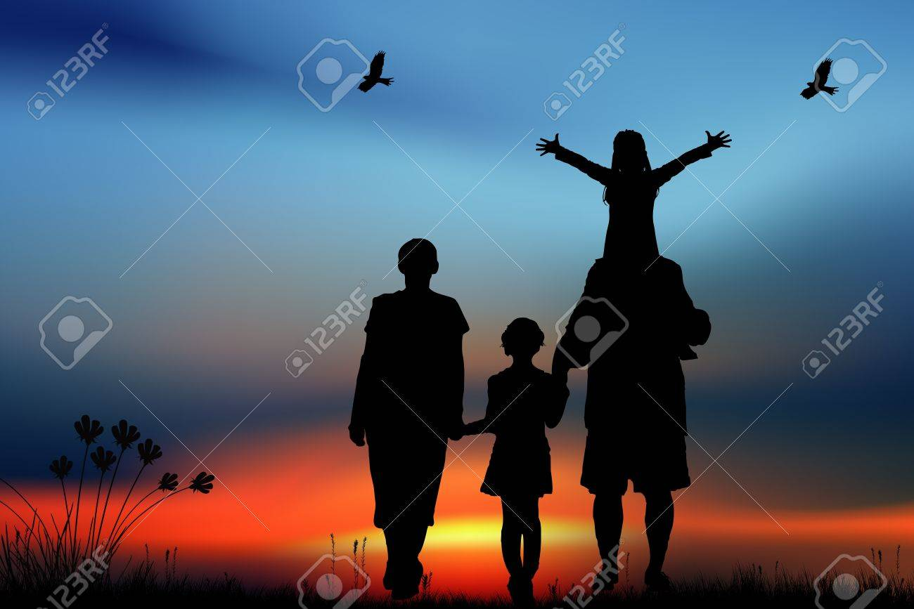 Family on the meadow Stock Photo - 15790682