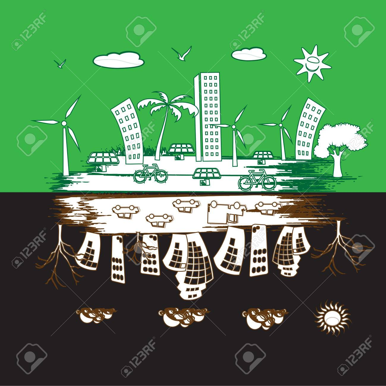 green city and pollution city Stock Photo - 24464444