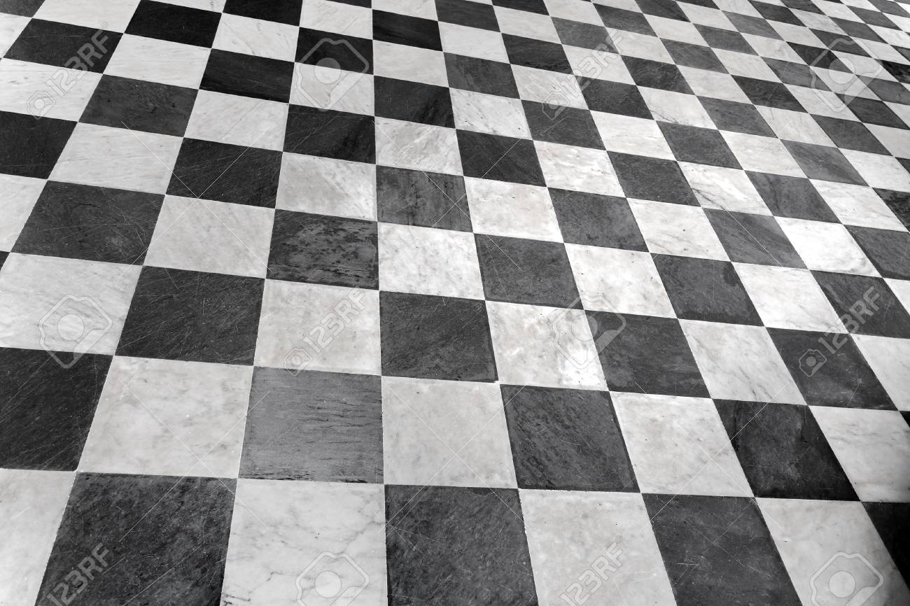 Black And White Checkered Floor Tiles Marble Background Stock Photo