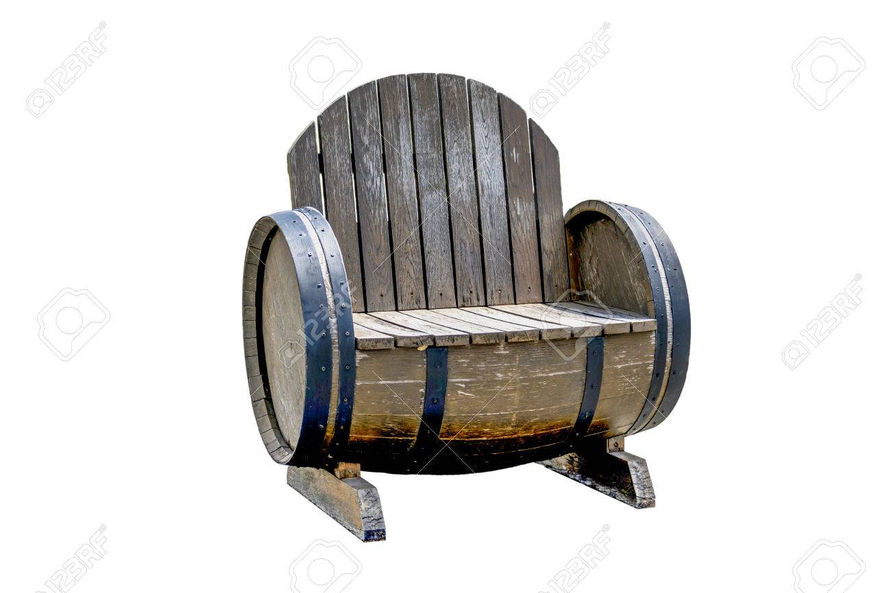 Old Wooden Chair Made From Old Wine Barrels Stock Photo Picture
