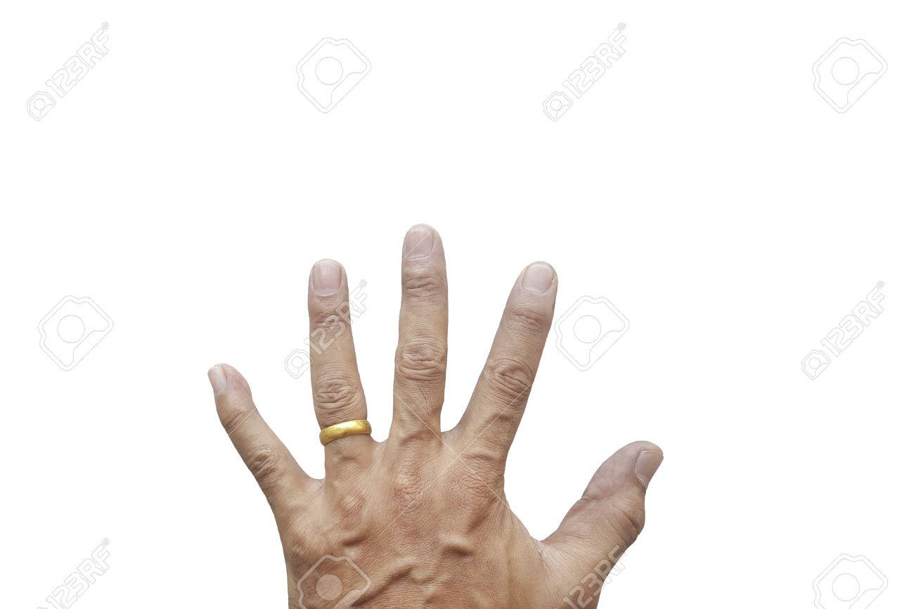 Man S Hand Wearing A Wedding Ring On His Left Ring Finger Isolated