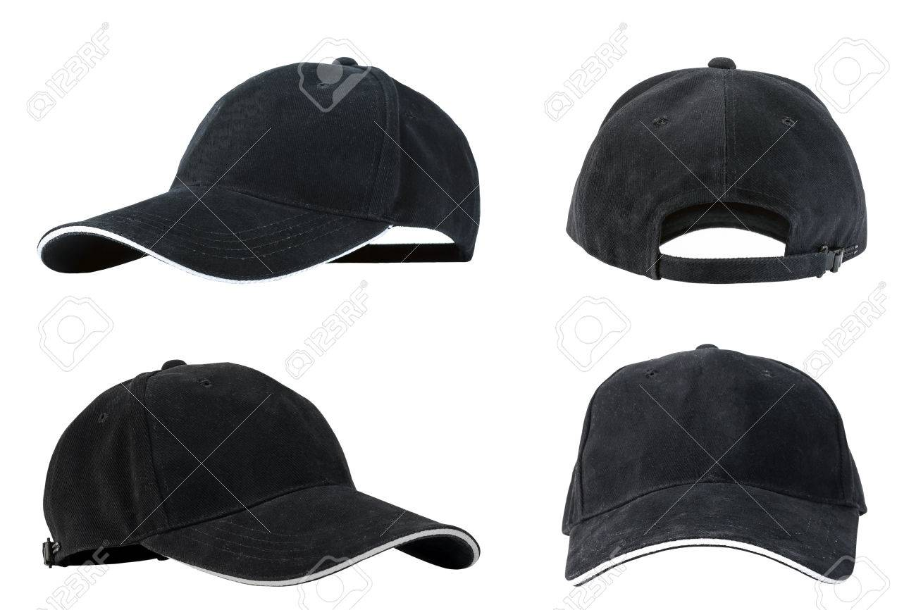 a50a0fc2 Collection of black baseball caps isolated on white background, concepts of  beauty, fashion and
