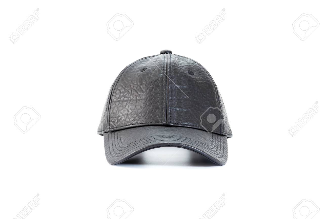 66b7b1494 Front view of black leather baseball caps isolated on white background,..
