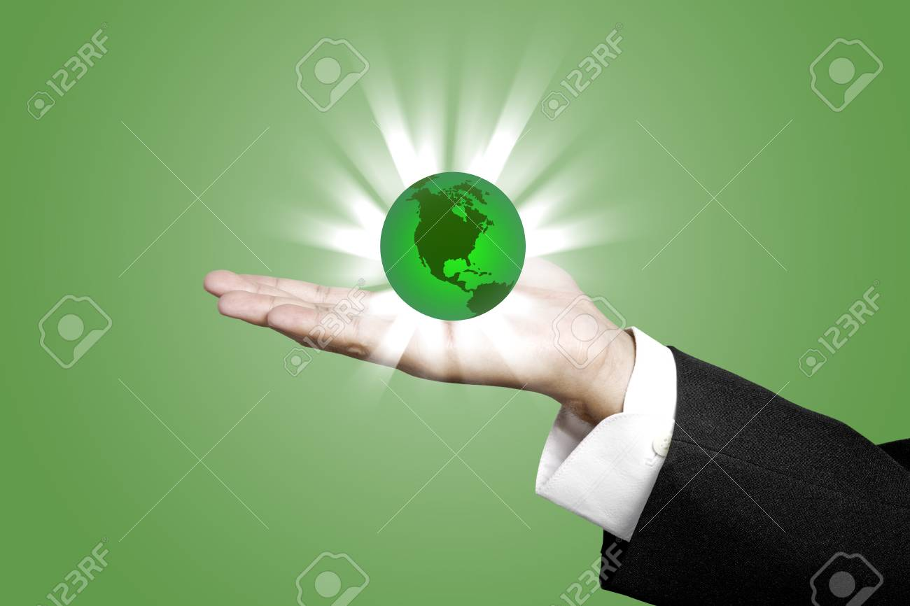 Green World with Business Hand concept Stock Photo - 12756445