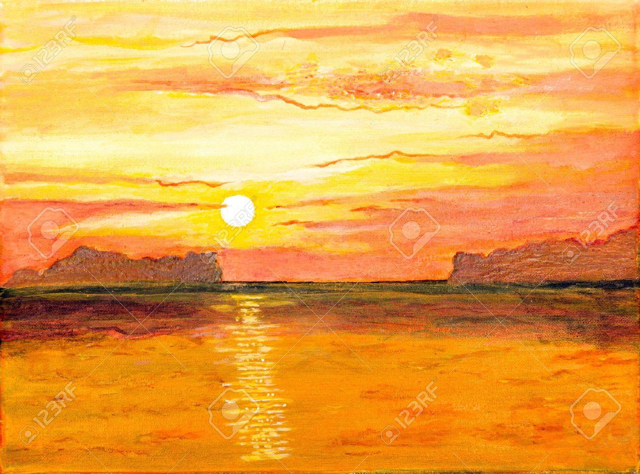 Sunrise on the sea of oil painting - 13706259
