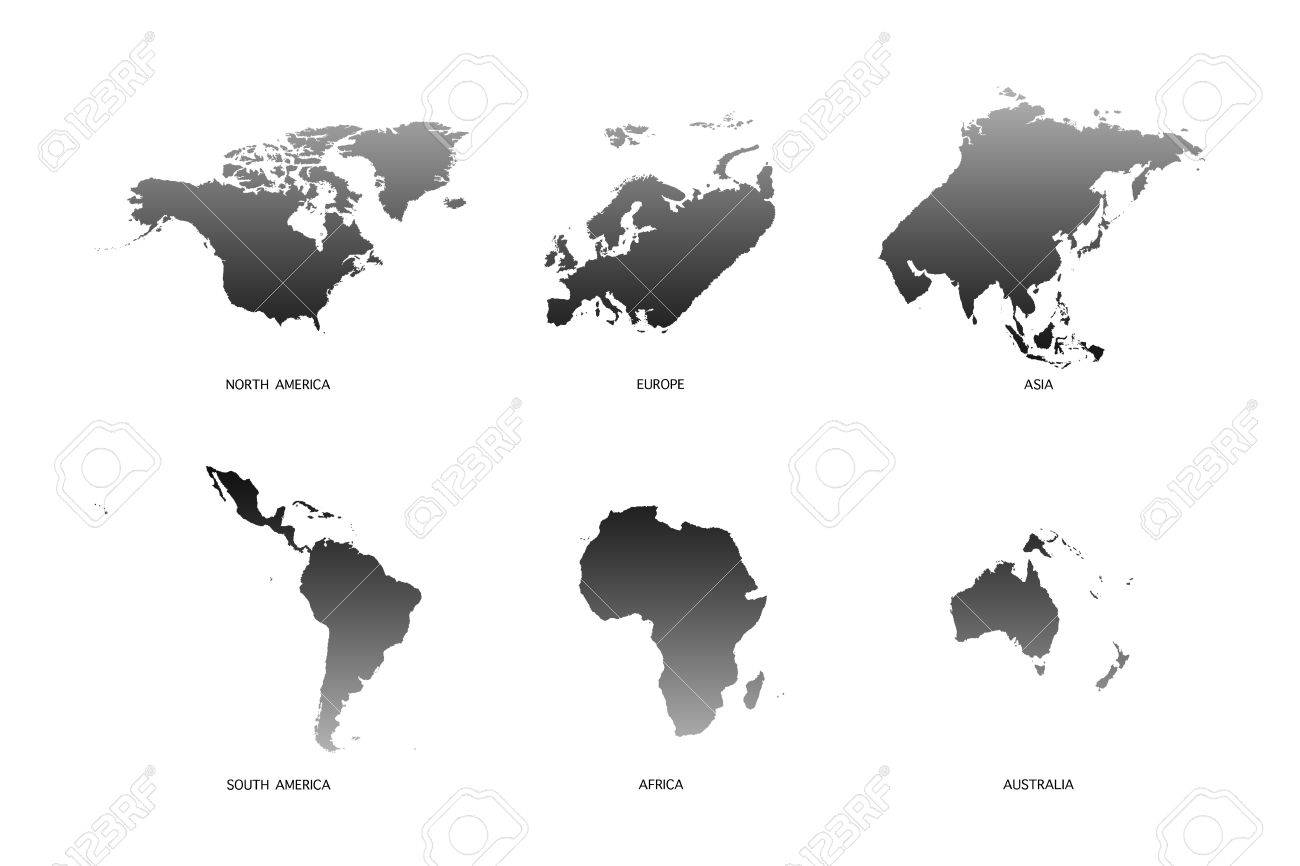 World map 6 continents on white background stock photo picture and stock photo world map 6 continents on white background gumiabroncs Gallery
