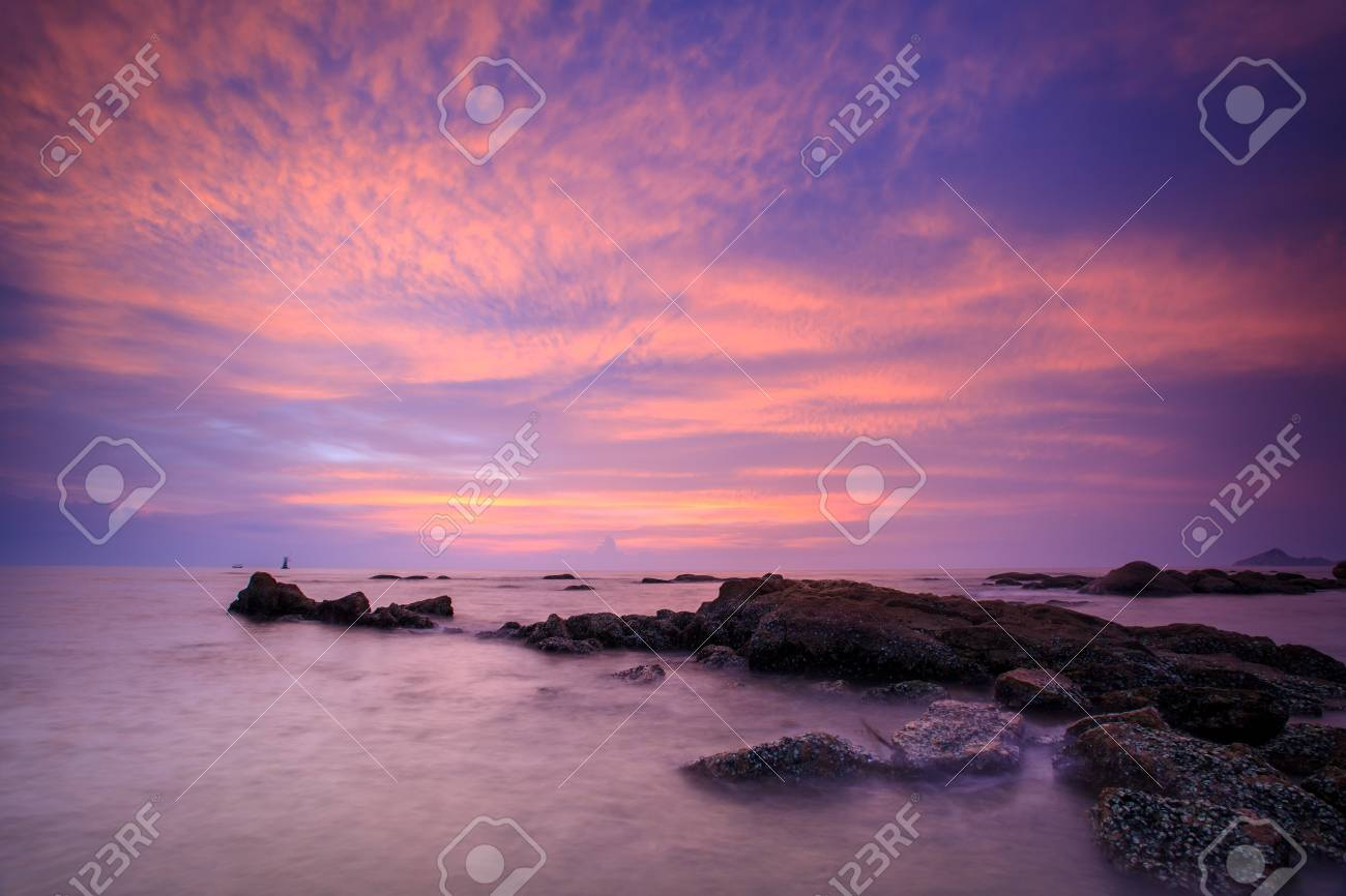 Sunrise Scene On Sea Coast Of Thailand Wallpaper Stock