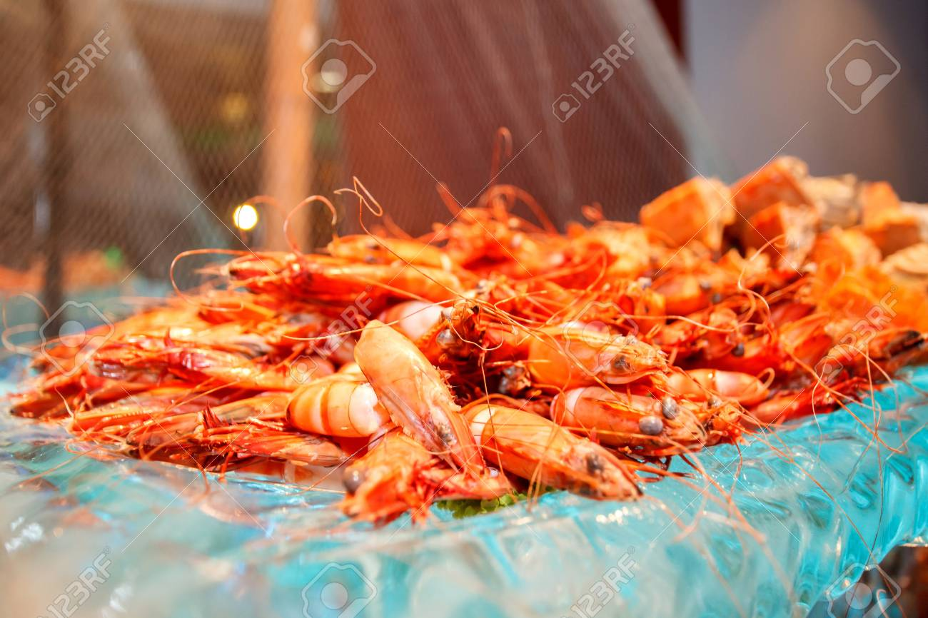Steam Tiger Prawn on a glass bowl Stock Photo - 17108035