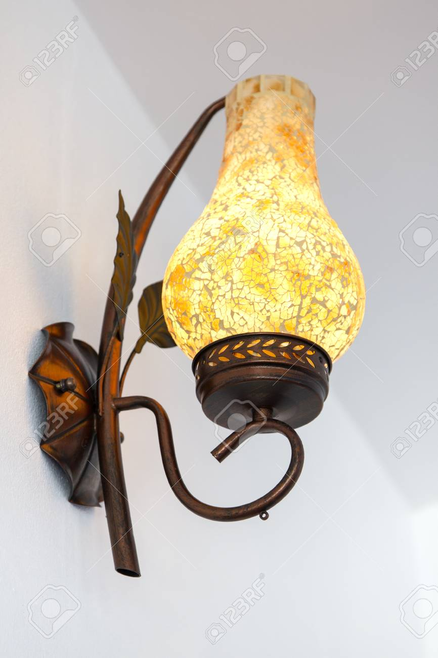 Classic lamp on the white wall Stock Photo - 24969724