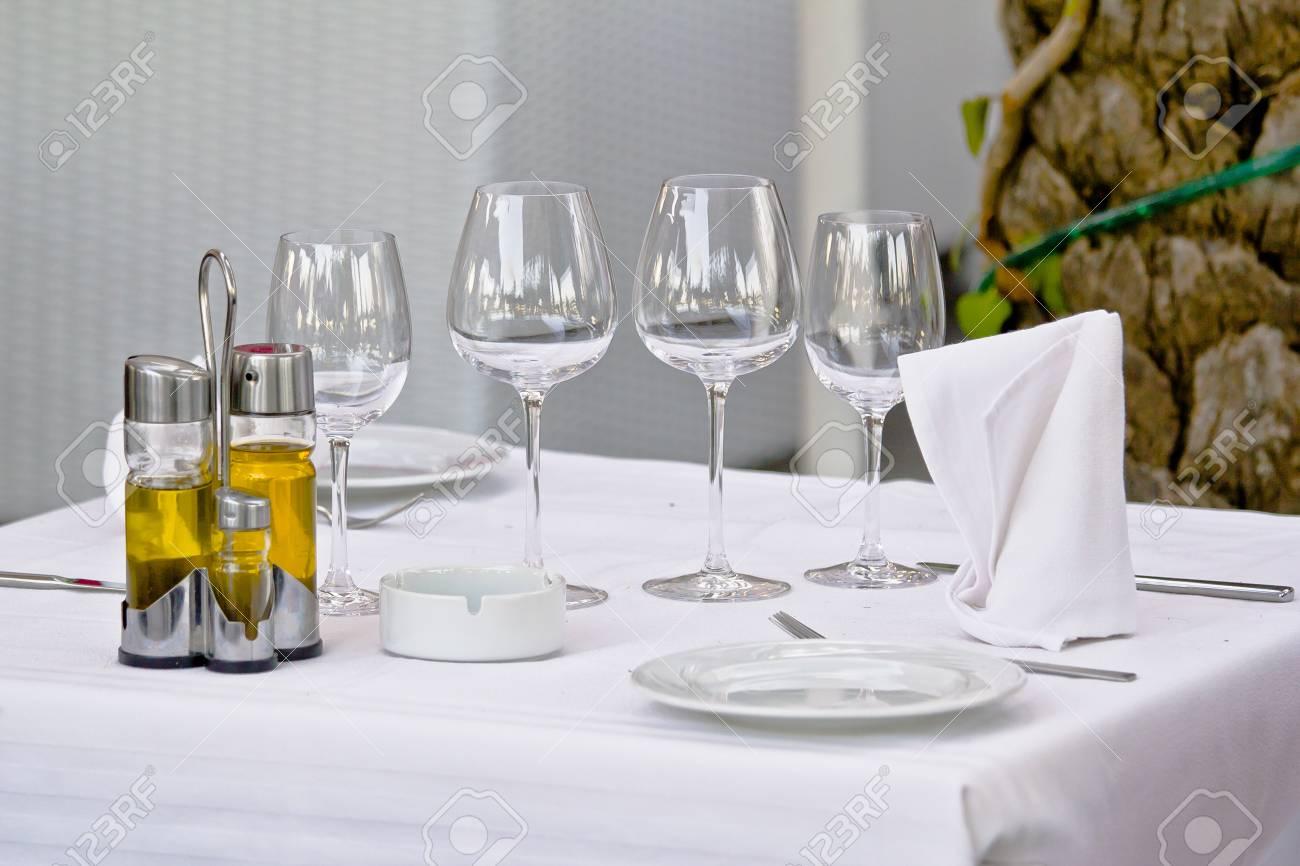 Table with crockery Stock Photo - 16214771
