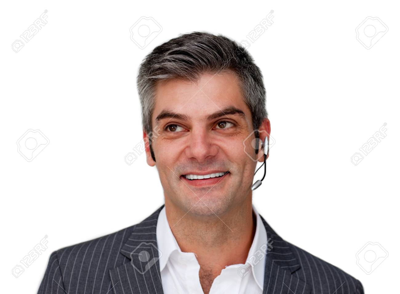 Smiling businessman with headset on Stock Photo - 10071848