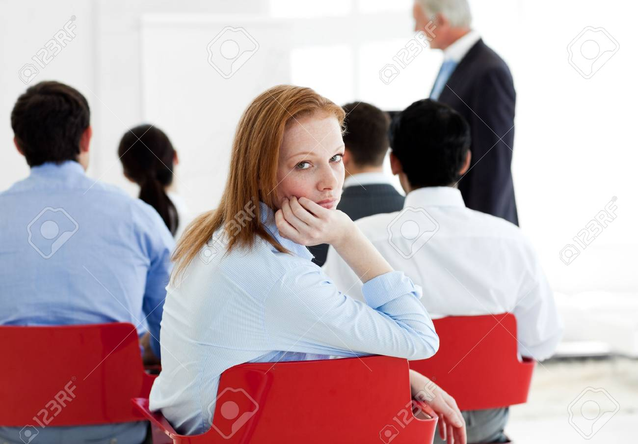 Bored businesswoman at a conference Stock Photo - 10093752