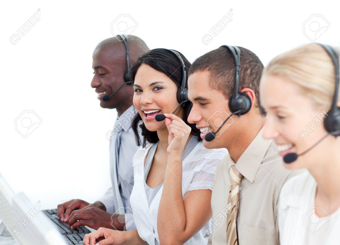 positive business people working in a call center stock photo positive business people working in a call center stock photo 10078802