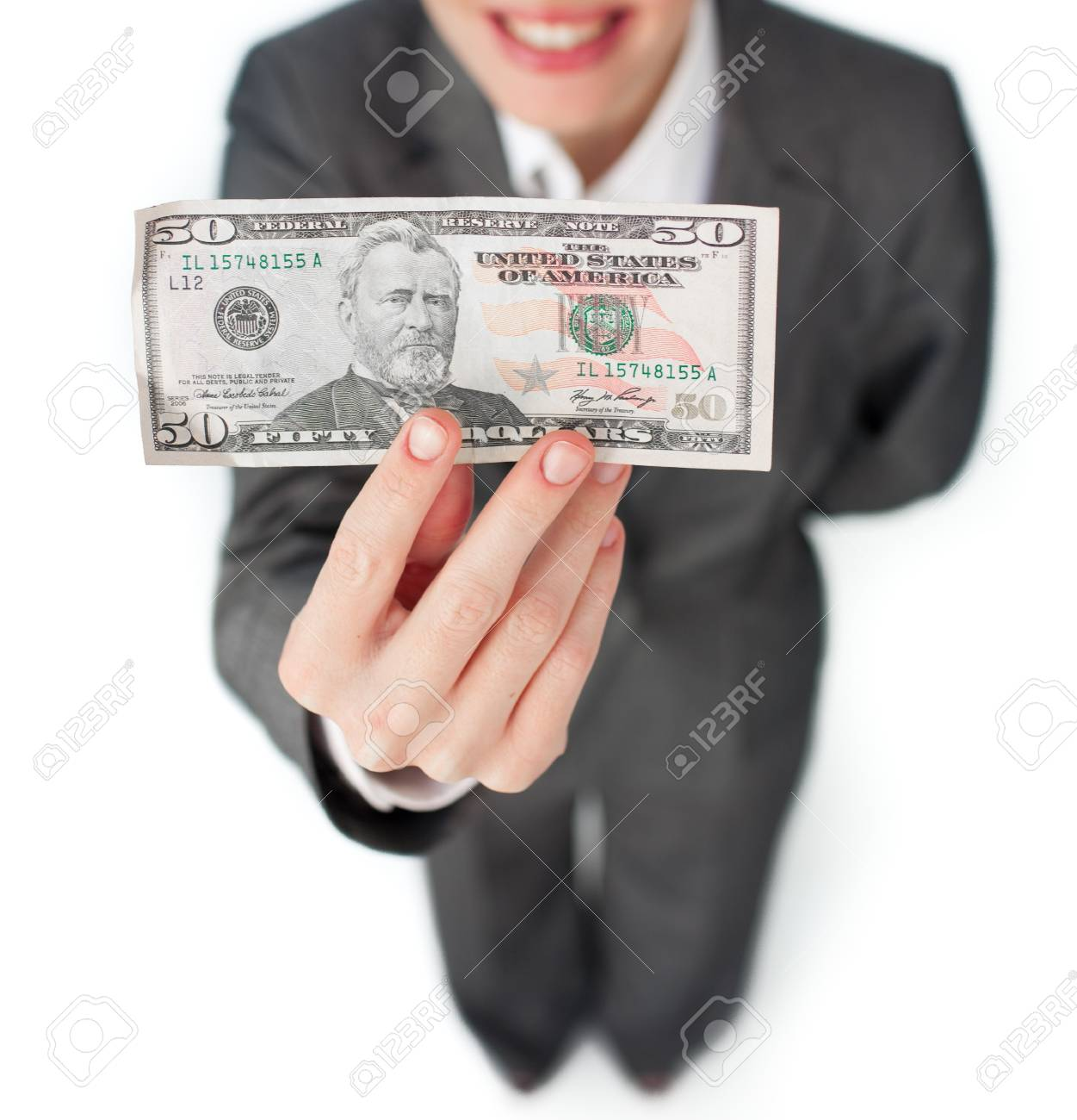 Close-up of a businesswoman holding a bank note Stock Photo - 10077656