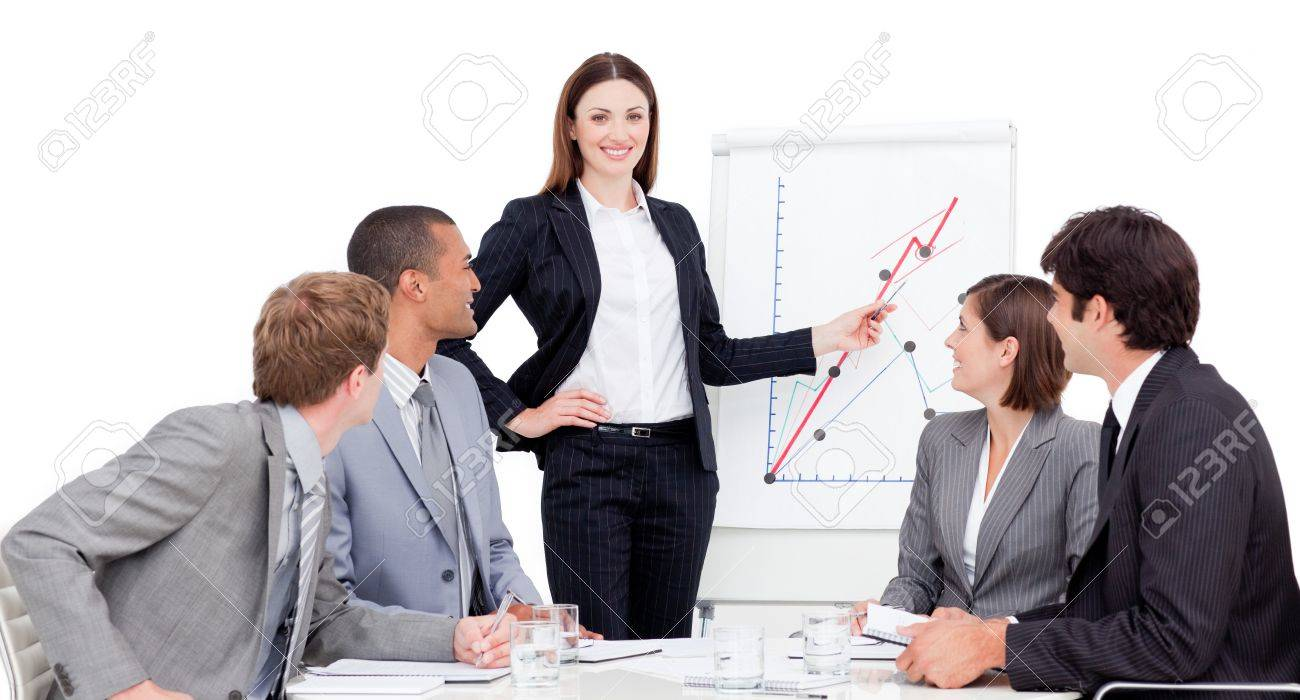 Confident businesswoman giving a presentation Stock Photo - 10078738