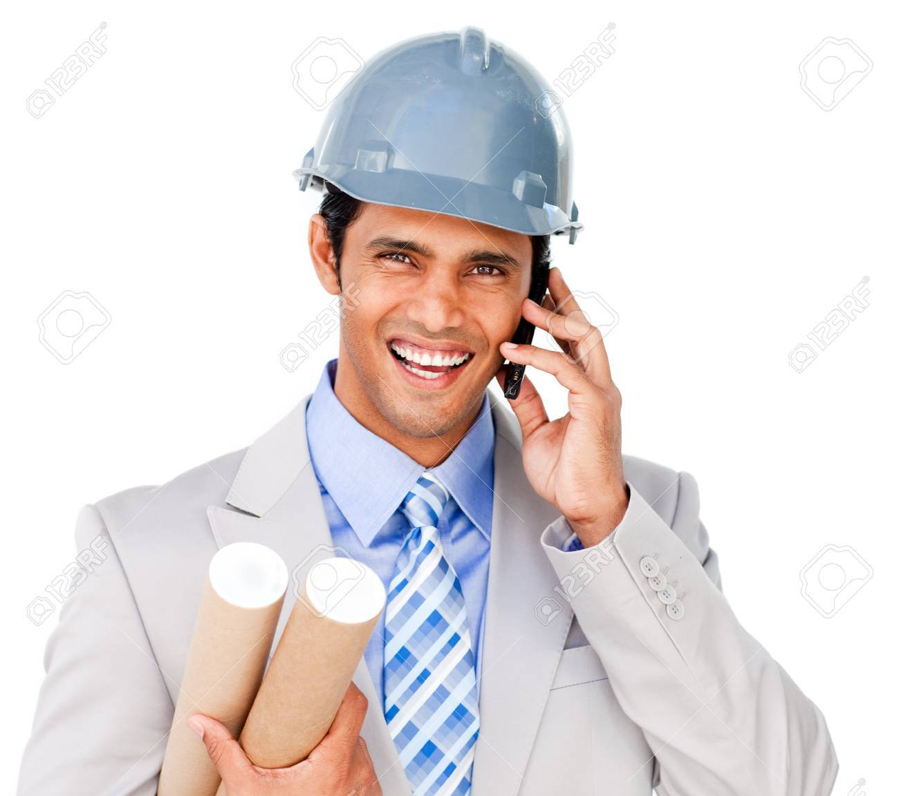 Close-up of a smiling architect on phone Stock Photo - 10095339