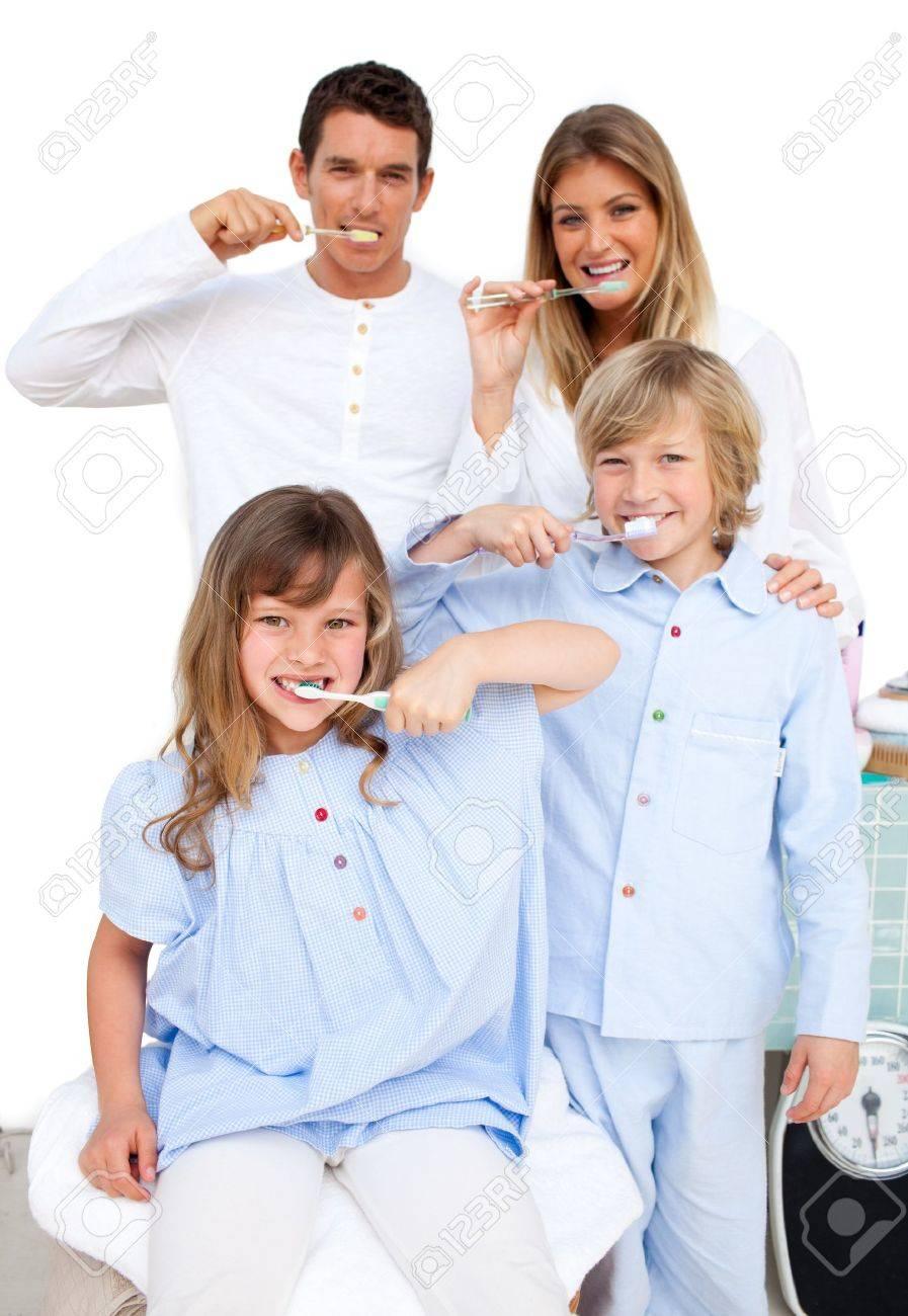 Family Washing Their Teeth Stock Photo - 10097131