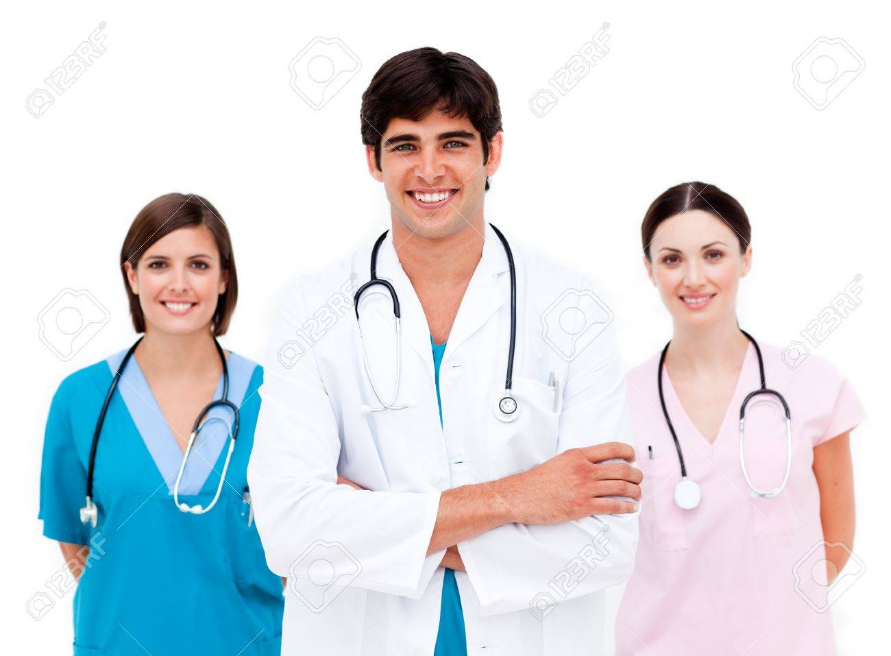 Surgeon with two nurses behind him Stock Photo - 10095138