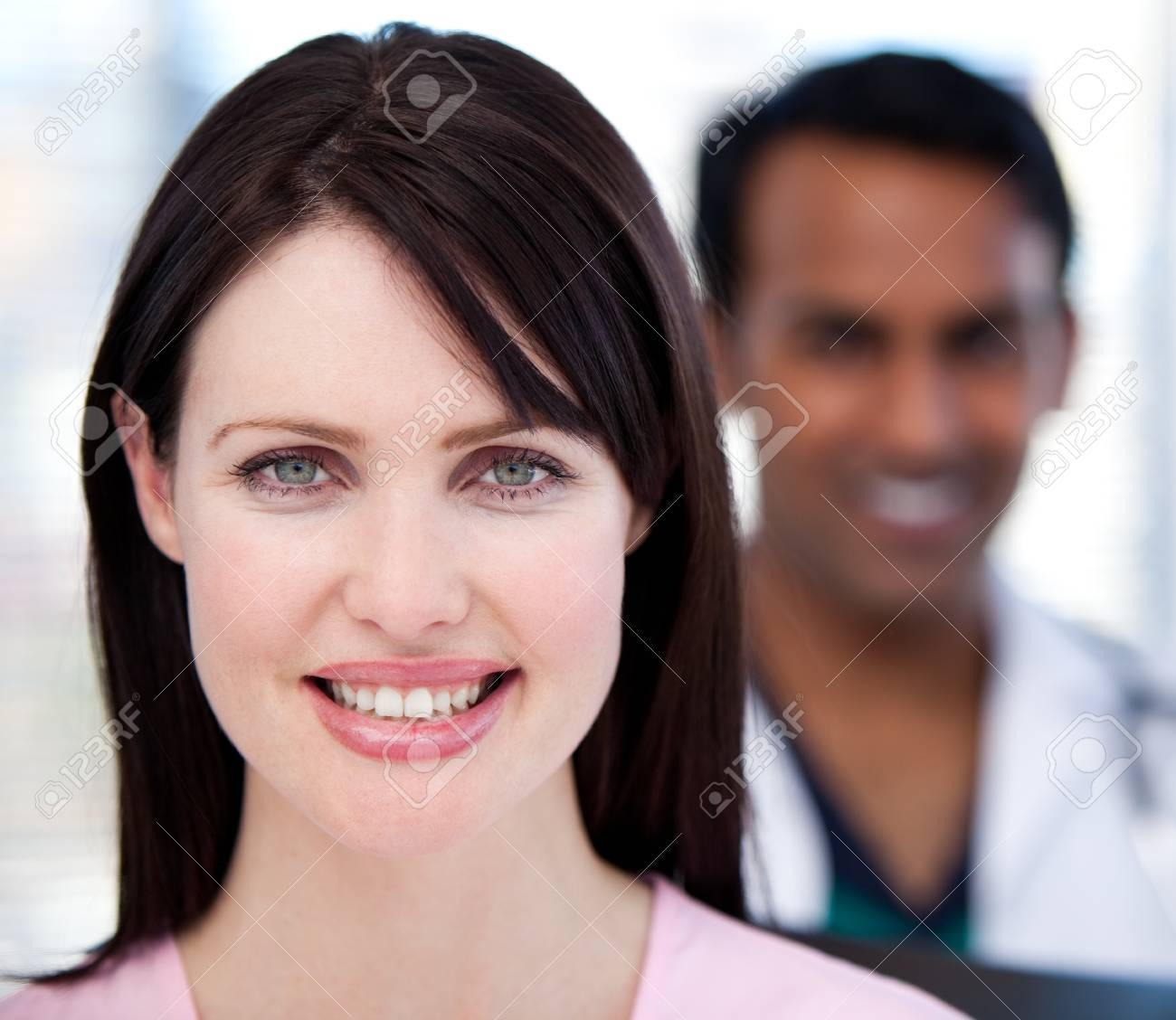 Close-up of two smiling doctos Stock Photo - 10106661