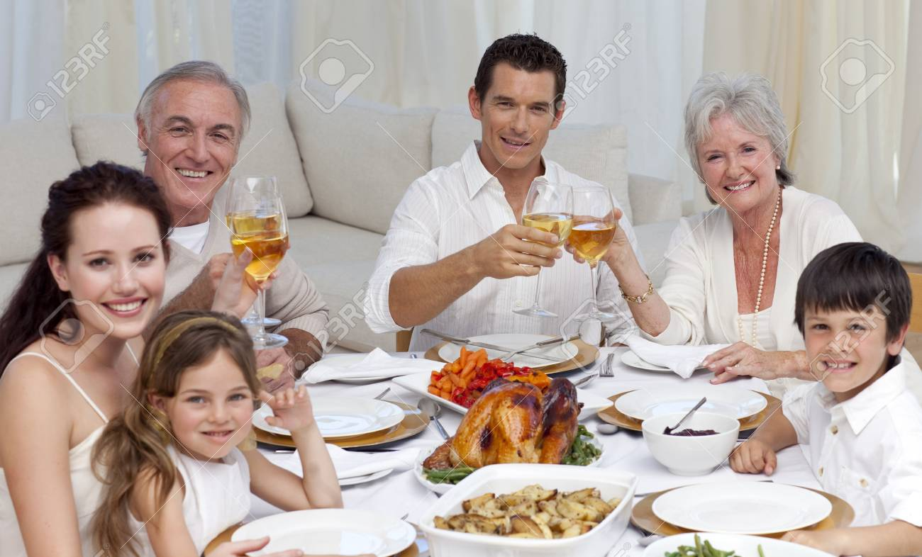 Family tusting with wine in a dinner smiling at the camera Stock Photo - 10106967
