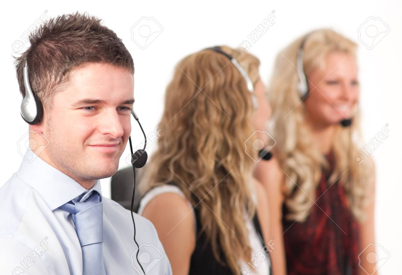 Three people in a call centre Stock Photo - 10108856
