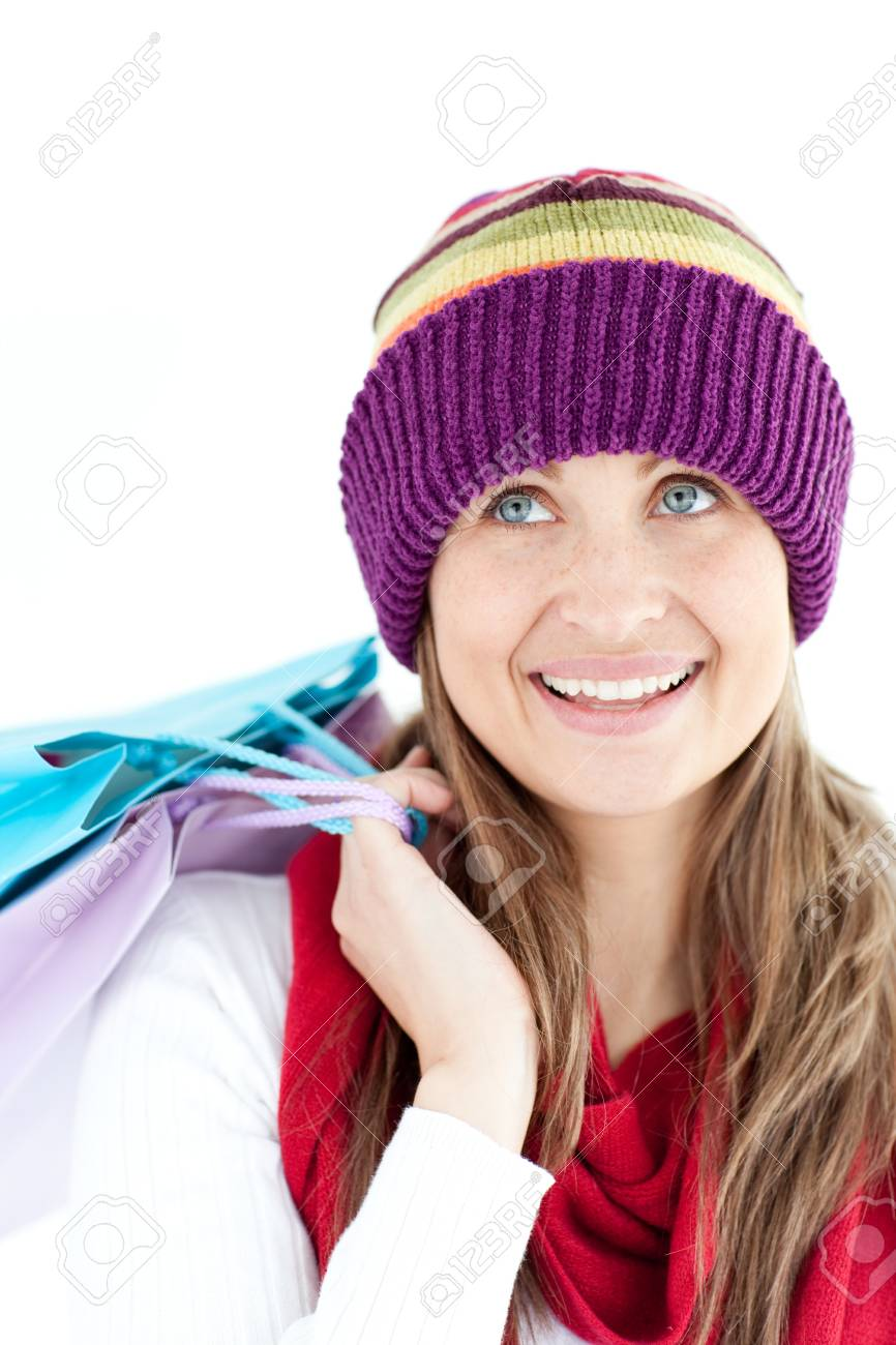 Positive woman holding shopping bags Stock Photo - 10129070
