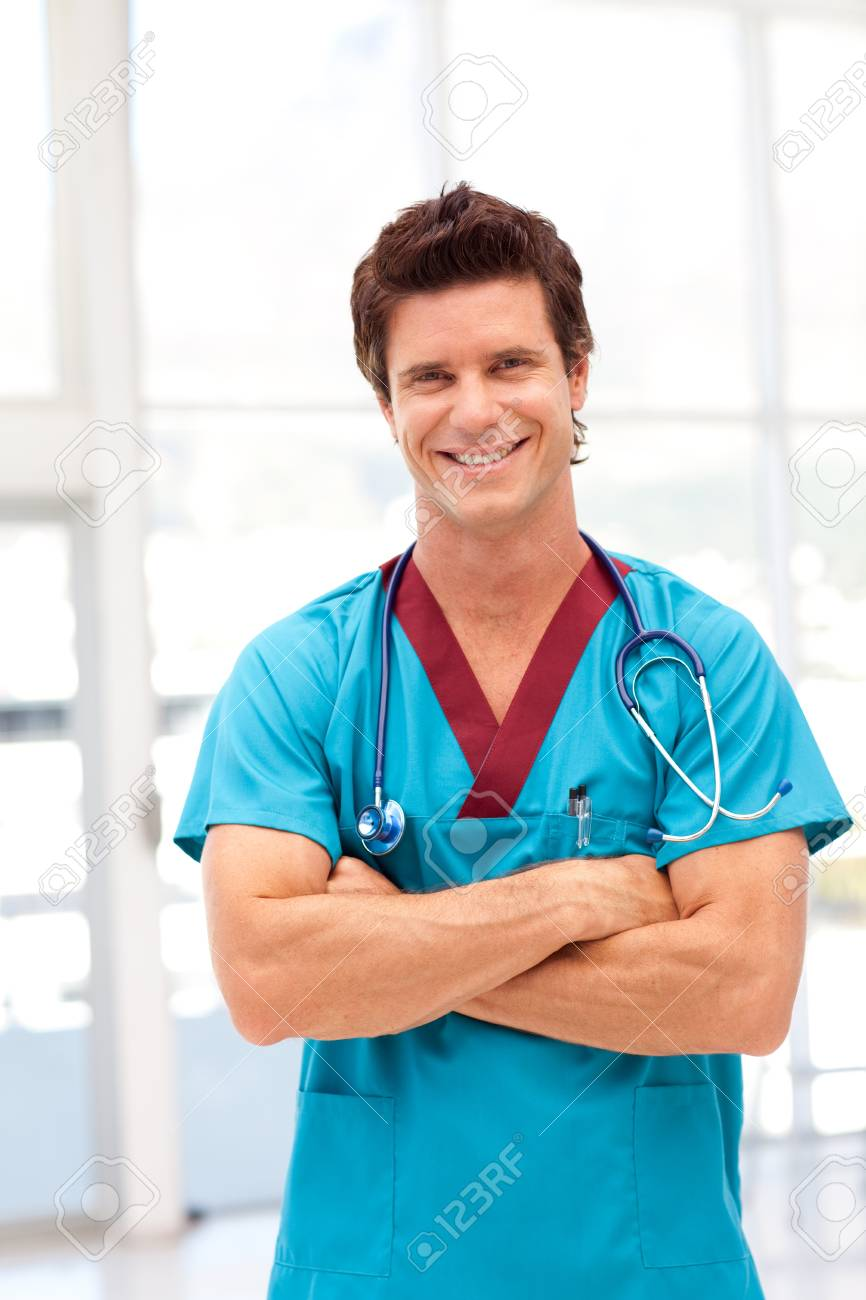 Potrait of a young doctor smilling at camera Stock Photo - 10131398