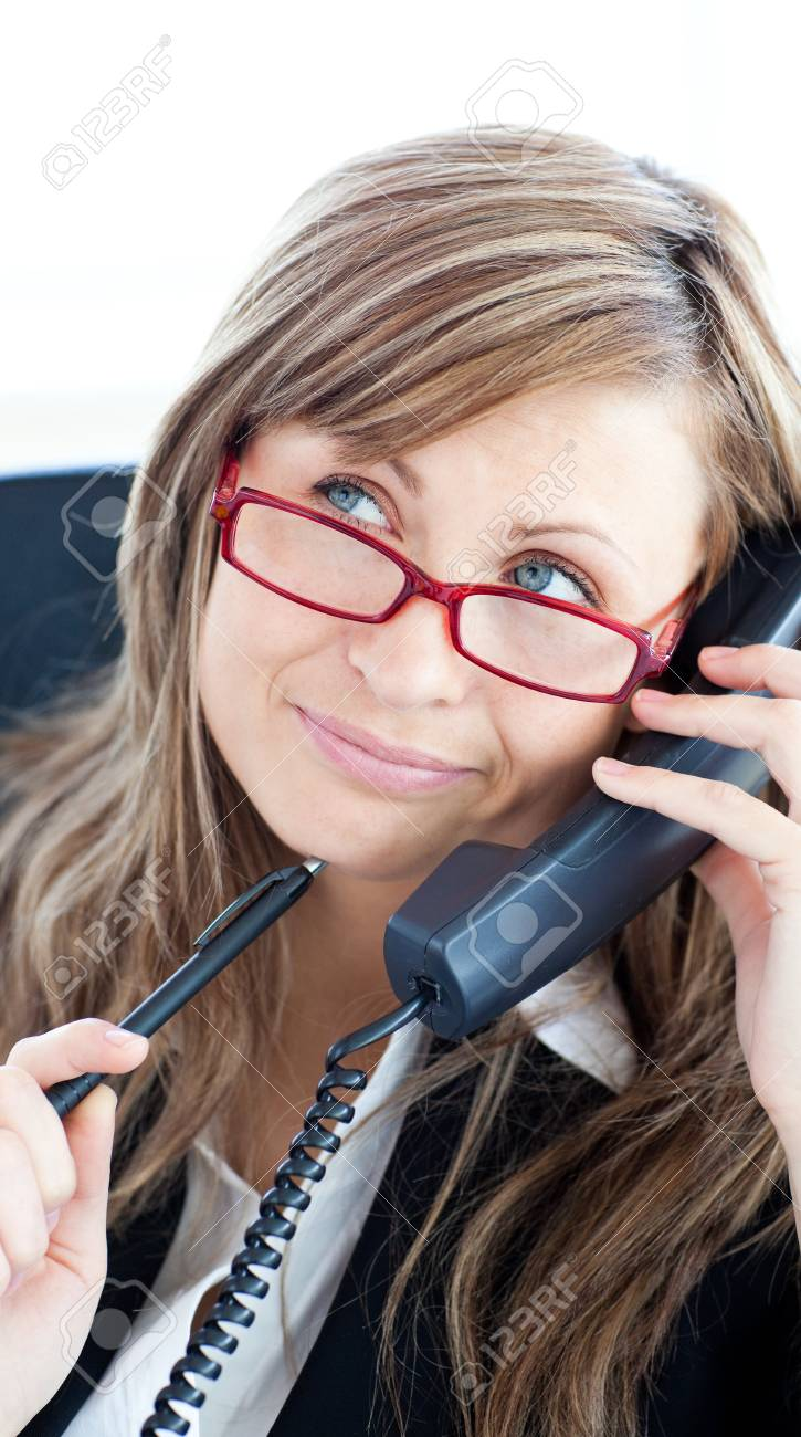 Thougtful confident businesswoman wearing red glasses Stock Photo - 10134526