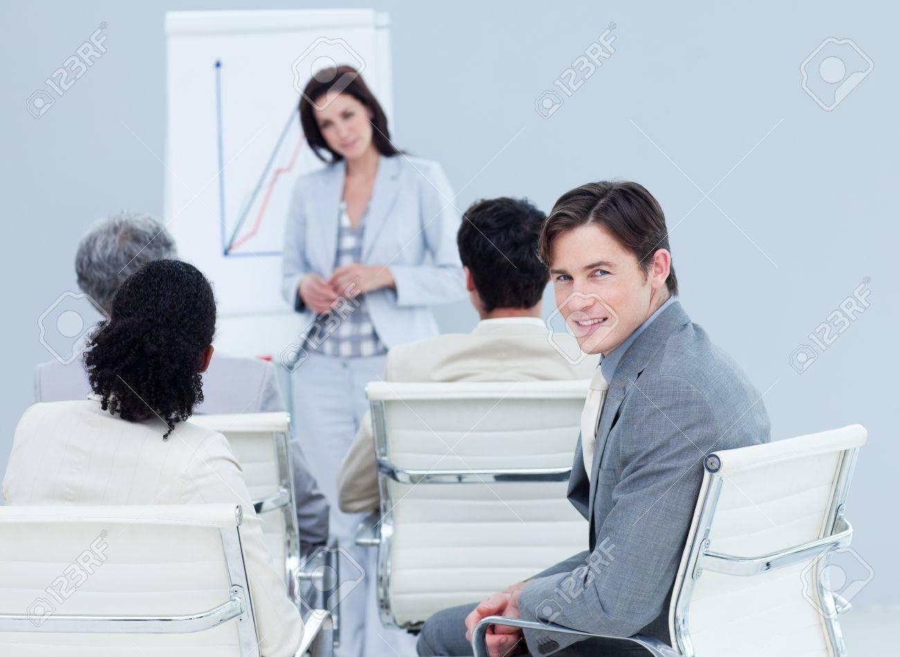 Confident businessman at a presentation Stock Photo - 10134407