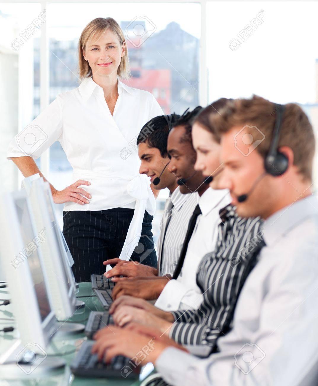 Self-assured female manager leading her representative team Stock Photo - 10135619