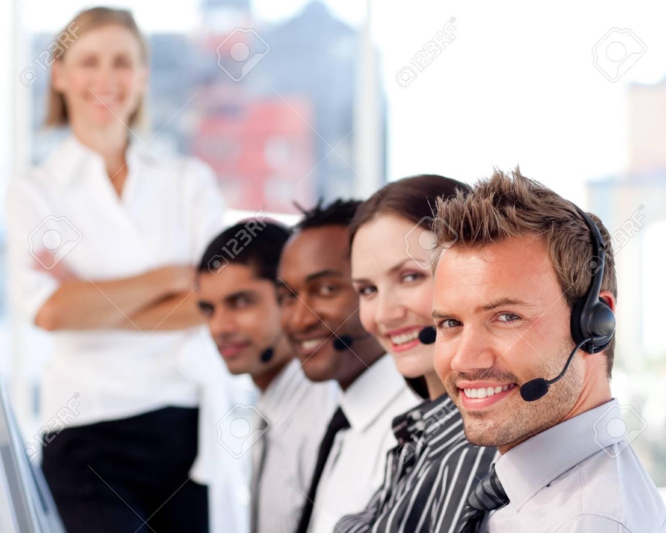 Caucasian manager leading her representative team Stock Photo - 10135103