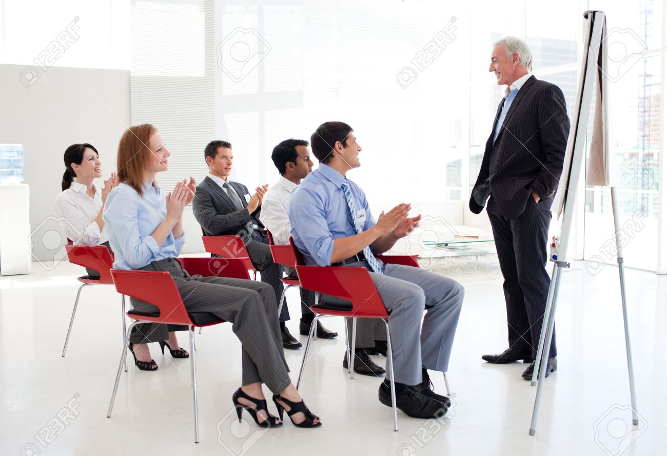 Senior businessman giving a conference Stock Photo - 10163578