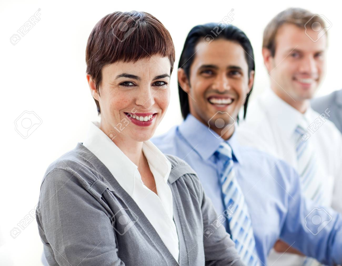 Multi-ethnic co-workers smiling at the camera Stock Photo - 10136121